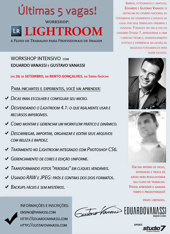 Workshop de Lightroom com Eduardo e Gustavo Vanassi